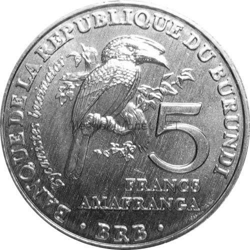 Бурунди 5 франков 2014 г. Калао-трубач