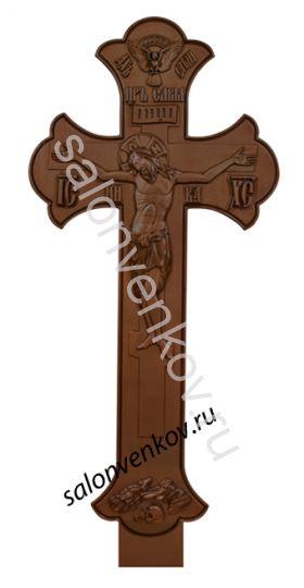 """Крест на могилу деревянный эксклюзивный из сосны """"Резной №1""""  200см орех"""