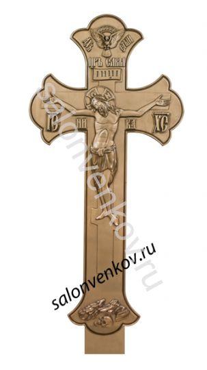 """Крест на могилу деревянный эксклюзивный из сосны """"Резной №1""""  200см бронза"""