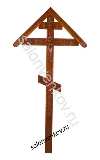 """Крест на могилу деревянный эксклюзивный из сосны """"Резной №3""""  230см с крышкой"""