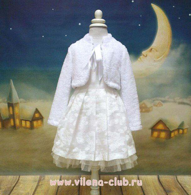 Платье праздничное молочное с украшением