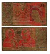 Позолоченная купюра 50 Фунтов Великобритания Цветная Банкнота под золото (Бона) Отличное качество!