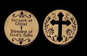Жетон Служение Христу крест позолота