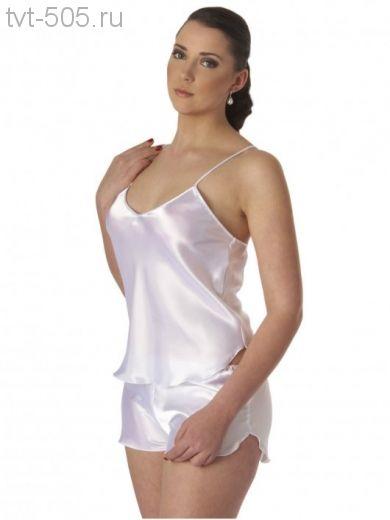 Комплект шелковый топ/шорты белый Belweiss 2204