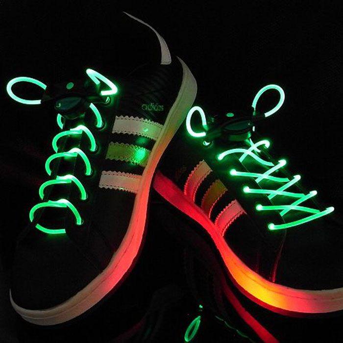 Шнурки с LED подсветкой, цвет зеленый
