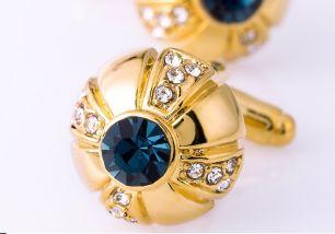 Запонки, под золото, цирконий, горный хрусталь, модель 32