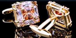 Запонки под золото, горный хрусталь, модель 59