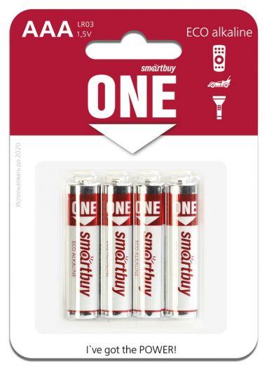 Батарейка алкалиновая Smartbuy ONE LR03/4B (48/480)