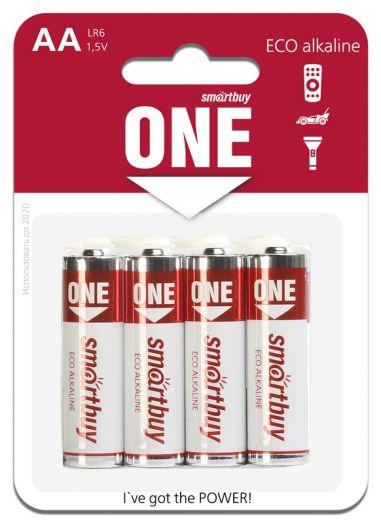Батарейка алкалиновая Smartbuy ONE LR6/4B (48/480)