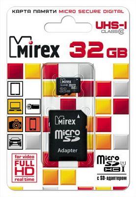 Карта памяти microSD MIREX 32GB class 10 (с адаптером) UHS-I