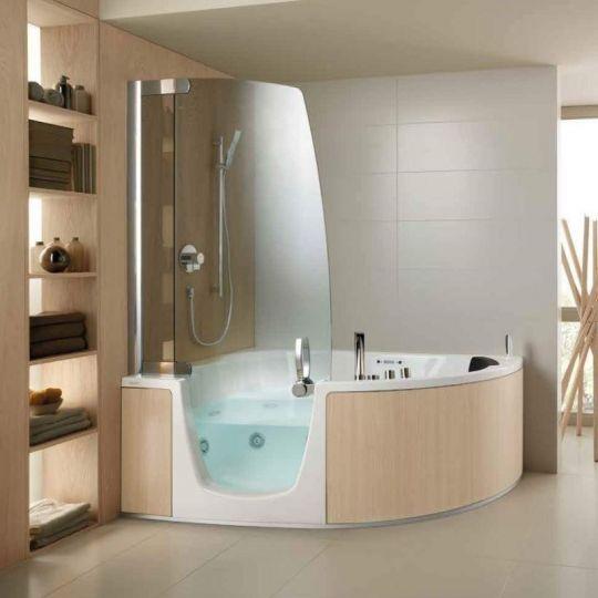 РАСПРОДАЖА ВЫСТАВКИ. Стеклянная ванна Teuco 383 173x117 Левая. Панель Беленый дуб. ФОТО