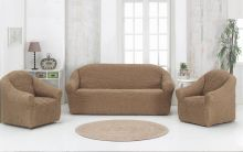 """Набор чехлов для дивана """"KARNA"""" + 2 кресла (кофейный) Арт.1780-1"""