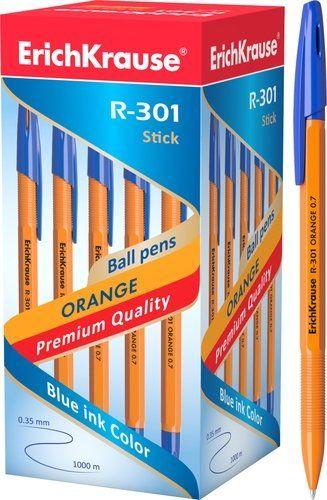Ручка шариковая ErichKrause R-301 ORANGE 0.7 Stick, синий