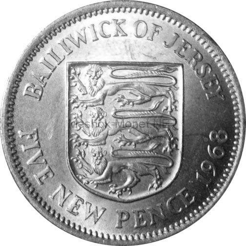 Остров Джерси 5 пенсов 1968 г.