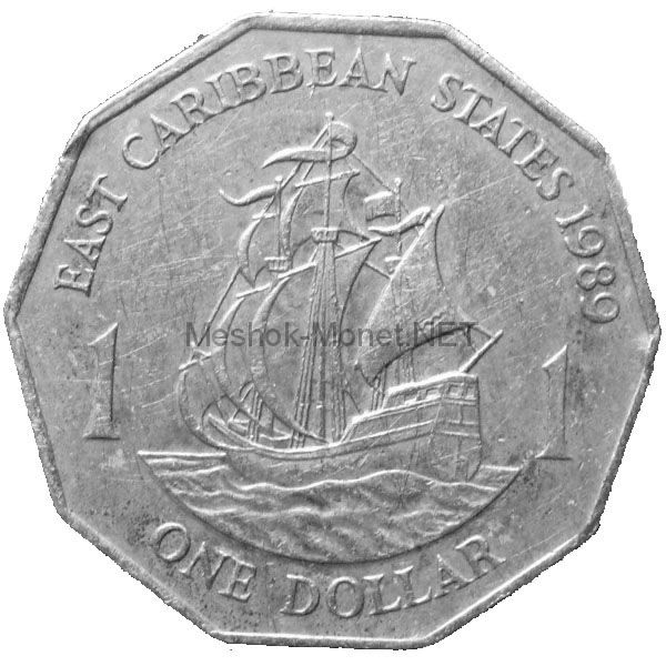 Карибы 1 доллар 1989 г.