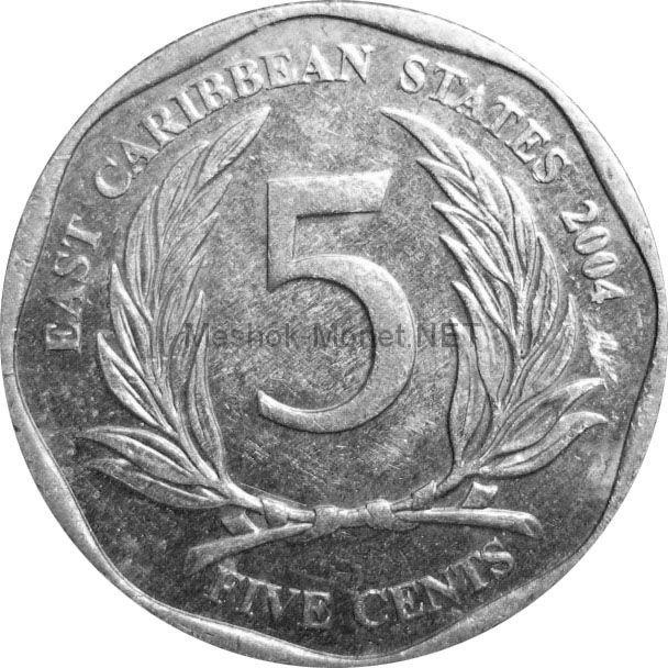 Карибы 5 центов 2010 г.