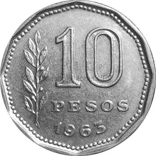 Аргентина 10 песо 1963 г.
