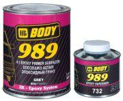 HB Body Грунт 989 серый эпоксидный (комплект), объем 1л. + Отвердитель BODY 732 EPOXY 250мл.