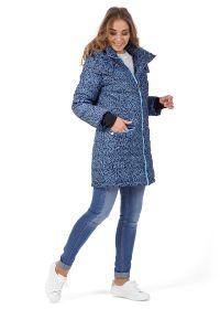 """Куртка 3в1 зимн. """"Мадейра""""  для беременных и слингоношения (синий узор, синие буквы, синий твид)"""