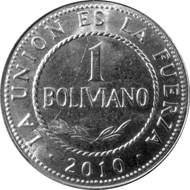 Боливия 1 боливано 2010 г.