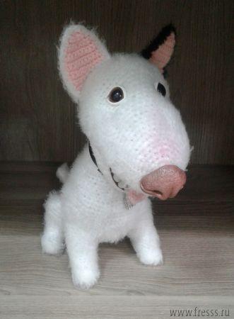 """Вязаная игрушка ручной работы """"Собака"""" белая"""