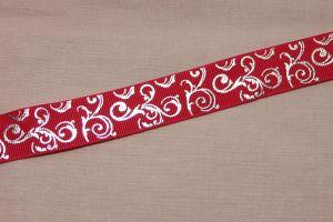 Лента репсовая с рисунком, ширина 22 мм, длина 10 метров цвет: ярко-розовый, Арт. ЛР5654-1