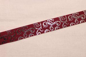 Лента репсовая с рисунком, ширина 22 мм, длина 10 метров цвет: бордовый, Арт. ЛР5654-2