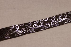 Лента репсовая с рисунком, ширина 22 мм, длина 10 метров цвет: коричневый