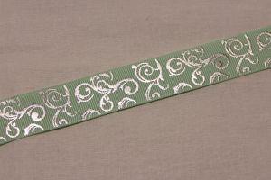 Лента репсовая с рисунком, ширина 22 мм, длина 10 метров цвет: светло-зеленый, Арт. ЛР5654-5
