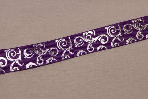 Лента репсовая с рисунком, ширина 22 мм, длина 10 метров цвет: фиолетовый, Арт. ЛР5654-6