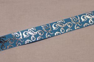 Лента репсовая с рисунком, ширина 22 мм, длина 10 метров цвет: голубой, Арт. ЛР5654-7