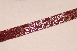 Лента репсовая с рисунком, ширина 22 мм, длина 10 метров цвет: бордовый, Арт. ЛР5655-1