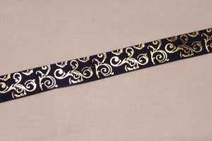 Лента репсовая с рисунком, ширина 22 мм, длина 10 метров цвет: темно-синий, Арт. ЛР5655-3
