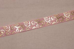 Лента репсовая с рисунком, ширина 22 мм, длина 10 метров цвет: светло-розовый, Арт. ЛР5655-4