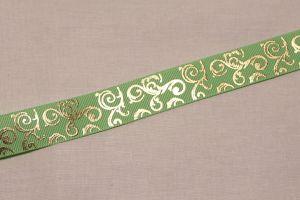 Лента репсовая с рисунком, ширина 22 мм, длина 10 метров цвет: мятный, Арт. ЛР5655-5