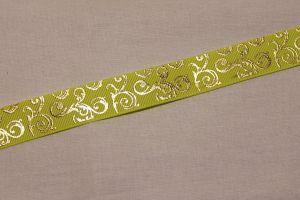 Лента репсовая с рисунком, ширина 22 мм, длина 10 метров цвет: желтый, Арт. ЛР5655-6