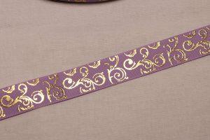 Лента репсовая с рисунком, ширина 22 мм, длина 10 метров цвет: сиреневый, Арт. ЛР5655-7