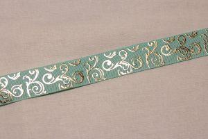 Лента репсовая с рисунком, ширина 22 мм, длина 10 метров цвет: бирюзовый, Арт. ЛР5655-8