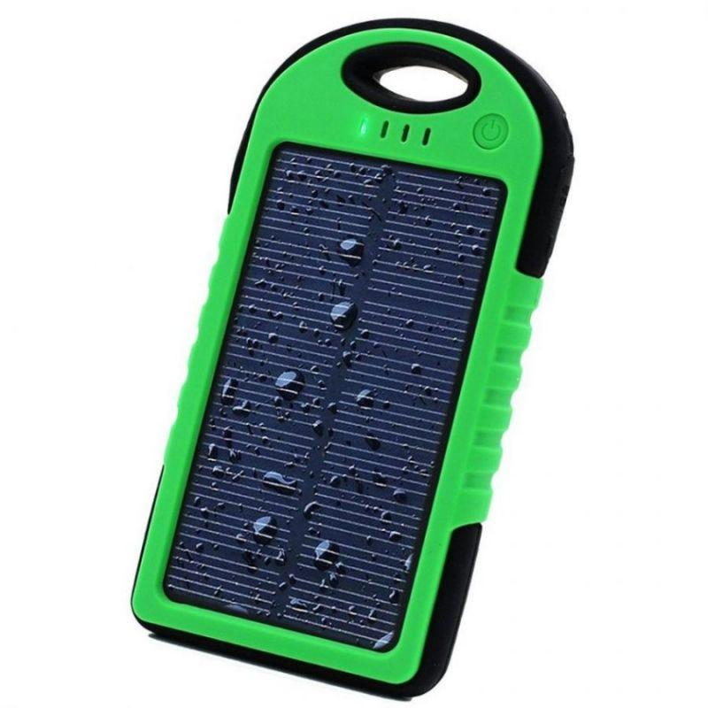 Power Bank с солнечной батареей, 5000 мАч, зеленый