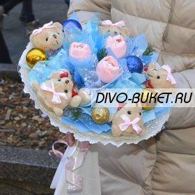 """Букет из игрушек №397-5К """"Белый лёд"""""""