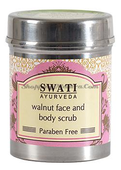 Скраб для лица и тела с Грецким орехом Свати Аюрведа | Swati Ayurveda Walnut Face&Body Scrub