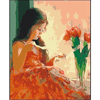 Роспись по холсту Девочка и тюльпаны 40х50см
