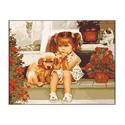 Роспись по холсту Девочка и щенок 40х50см
