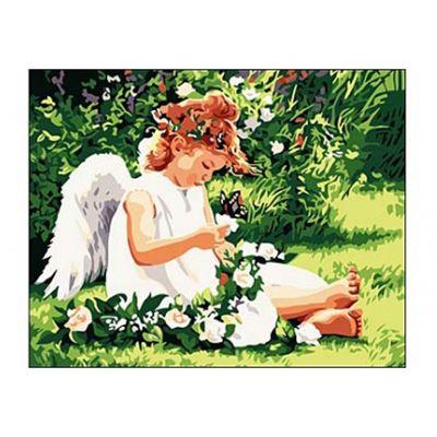 Роспись по холсту Ангелочек и бабочка 40х50см