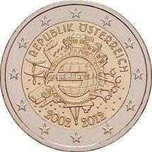Австрия 2 евро 2012 10 лет наличному обращению евро