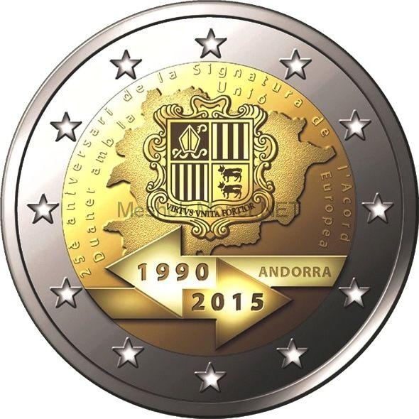 Андорра 2 евро 2015, 25-летие подписания таможенного соглашения с ЕС