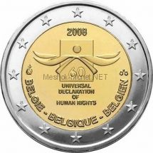 Бельгия 2 евро 2008 60 лет декларации прав человека