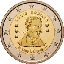 Бельгия 2 евро 2009, 200 лет со дня рождения Луи Брайля