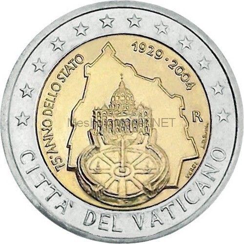 Ватикан 2 евро 2004, 75 лет образования Государства Ватикан (буклет)