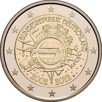 Германия 2 евро 2012, 10 лет наличному обращению евро